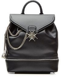 cffdd06894a564 Alexander McQueen Leather Backpack with Chain Straps black