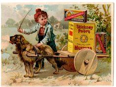 Stickney & Poor's Mustard Advertising Trade Card Boston, MA Dog, Boy, Cart, Food #StickneyPoors