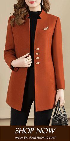 Collarless Plain Coat - How To Be Trendy 60 Fashion, Blazer Fashion, Fashion Sewing, Women's Fashion Dresses, Womens Fashion, Fashion Fall, Fashion Stores, Iranian Women Fashion, Trendy Dresses