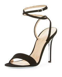 Angie A - Kloe Suede Ankle-Wrap Sandal, Black Suede Sandals, Strappy Heels, Black Sandals, Shoes Sandals, High Heels, Shoe Palace, Giuseppe Zanotti Shoes, Zanotti Heels, Italian Shoes