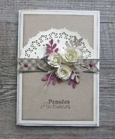 card flowers leavea flower leaf doily clean and simple, elegant
