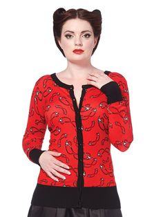 "Women's ""Spectacles"" Cardigan by Voodoo Vixen (Red) #InkedShop #cardigan #style #fashion #spectacles #womenswear #cute"