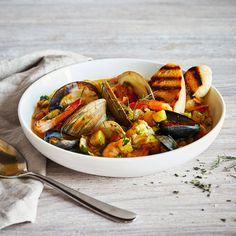 Bouillabaisse (Seafood in Saffron Broth) with Creamy Garlic Aioli Recipe | Sur La Table Fish Recipes, Seafood Recipes, Soup Recipes, Cooking Recipes, Party Recipes, Seafood Dishes, Summer Recipes, Dinner Recipes, Healthy Recipes