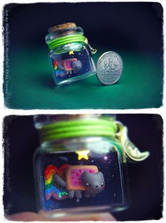Nyan Cat in Bottle how is this possible how do you get the clay in that tiny bottle?