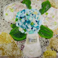 """Hydrangea Mix"" 36x36 mixed media Anne Irwin Fine Art 404.467.1200"