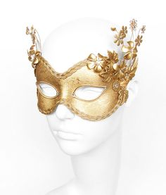 Pure Gold Masquerade Mask With Metallic Flowers -  Venetian Style Masquerade Ball Mask With Gold Flowers - For Prom, Costume Party, Wedding