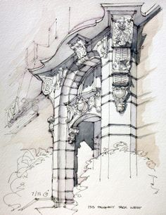 to ] Great to own a Ray-Ban sunglasses as summer Prospect Park West - James Anzalone // Brooklyn Baroque. Ink and watercolor sketch on location. Croquis Architecture, Art Et Architecture, Watercolor Architecture, Art Sketches, Art Drawings, Urban Sketchers, Watercolor Sketch, Cool Art, Concept Art