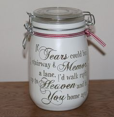 Glass personalised Jar memory If Tears could by Itzastickup2010