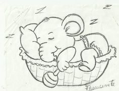 Cute Cartoon Drawings, Easy Drawings, Animal Drawings, Clipart Baby, Embroidery Applique, Embroidery Patterns, Machine Embroidery, Elephant Quilt, Baby Elephant