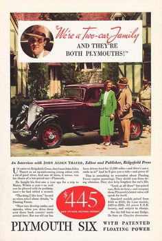 1933 PLYMOUTH Six DELUXE PD Car Advertisement Red Maroon by phorgotten