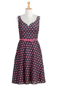 Polka dot print sweetheart dress
