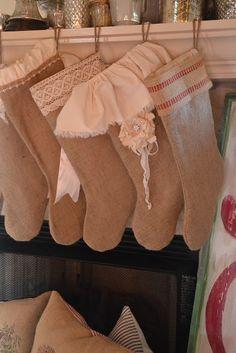 Burlap Christmas Stockings.