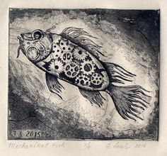 Mechanical Fish. Etching  7 x 6 in 2016