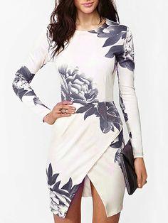 White Floral Print Asymmetric Hem Long Sleeve Bodycon Dress | Choies