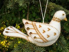White and Gold Wool Felt Dove Ornament