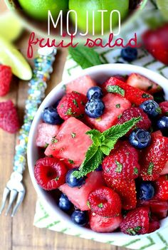 Mojito Fruit Salad is a refreshing fruit and berry salad that tastes just like an ice-cold mojito. The absolute best fruit salad to make all summer long! | iowagirleats.com