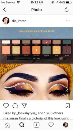 Subculture pallet tutorial by @Rija_imran on instagram Urban decay 'midnight cowboy' heavy metal glitter used