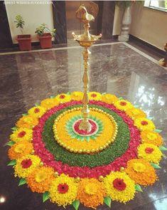 Flower Rangoli For Diwali Flower Rangoli Images, Simple Flower Rangoli, Simple Rangoli Designs Images, Rangoli Designs Flower, Rangoli Patterns, Rangoli Ideas, Colorful Rangoli Designs, Rangoli Designs Diwali, Beautiful Rangoli Designs