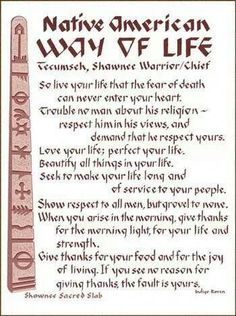 First Nation's Way of Life.The Words of the Wise Man Tecumseh. Native American Prayers, Native American Spirituality, Native American Cherokee, Native American Wisdom, Native American History, American Indians, Cherokee Rose, Native American Beauty, American Life