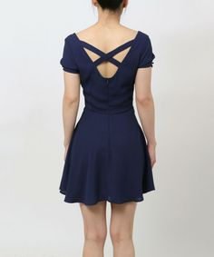 Look what I found on #zulily! Navy Cutout Fit & Flare Dress by funkitribe #zulilyfinds