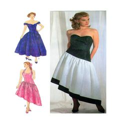 Simplicity 9506 Bridal or Event Wear Prom Dress Sewing Pattern Off Shoulder Fitted Bodice Cocktail Length Princess Seams Size 6-8-10 UNCUT by FindCraftyPatterns on Etsy
