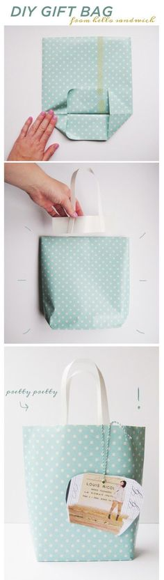 Gift bags from wrapping paper - can make whatever size you need. You could use wallpaper too! Kawaii Gifts, Paper Gift Bags, Make A Gift, Best Gifts, Diy Gifts, Noel Gifts, Diy Projects, Project Ideas, Holiday Crafts