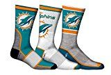NFL Men's Miami Dolphins 3-Pack Sport Crew Socks