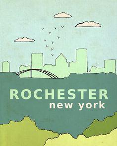Rochester New York // Typographic Print, Illustration, Giclee, Nursery Art… Travel Themes, Travel Posters, Abstract Canvas, Canvas Art, Rochester New York, Rochester Homes, Thing 1, Upstate New York, Home Decor Wall Art