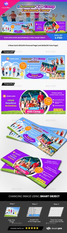 Fully editable and vector shape so it can be easily change its text, color & shape. A Set of FB Cover Timeline for Multipurpose Summer Camps For Kids, Camping With Kids, Summer Kids, Kids Camp, Facebook Cover Template, Facebook Timeline Covers, Kids Line, Vector Shapes, Fb Covers