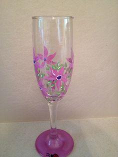 Flowers wine glass