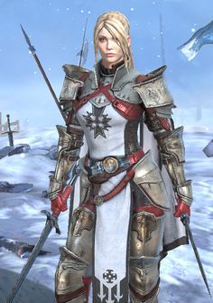 f Paladin Plate Armor Dual Swords Lance female eastern border north section Mountains Ice snow lg Fantasy Warrior, Anime Warrior, Fantasy Rpg, Medieval Fantasy, Fantasy Artwork, Dungeons And Dragons Characters, Fantasy Characters, Female Characters, Fantasy Character Design