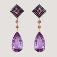 Teardrop Shape Vermeil Drop Earrings With Amethyst & Rose Cut Diamond  £798 (81692)