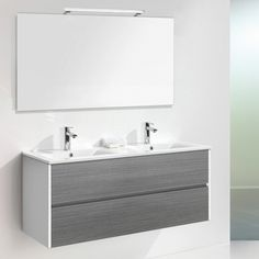 Belfry Daugava 120cm Wall Mounted Double Basin Vanity Unit With Mirror and Storage Cabinet | Wayfair UK