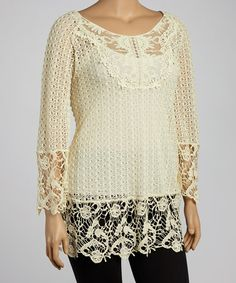 Take a look at this Cream Crocheted Tunic - Plus by UMGEE U.S.A. on #zulily today!