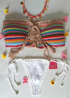 croche bikini will take it down # Hippie Crochet, Love Crochet, Crochet Baby, Crochet Top, Baby Bikini, Bikini Dress, Crochet Bikini Top, Baby Sweaters, Crochet Clothes