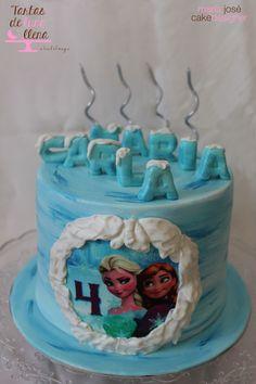Tarta Frozen - Frozen cake  Tarta pintada a mano - hand painted cake www.tartasdelunallena.blogspot.com