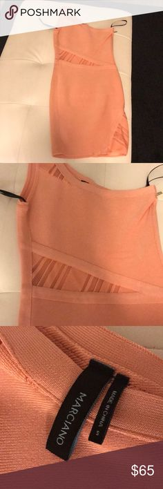 Marciano Bodycon Dress One Shoulder Marciano Bodycon Blush color Dress. Worn literally one time! EXCELLENT condition. Size Small Marciano Dresses One Shoulder