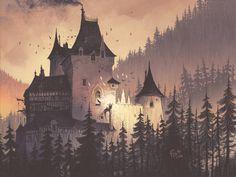 The white curtain, an art print by Florent Sacre Fantasy City, Fantasy Castle, Fantasy Places, Medieval Castle, Medieval Art, Medieval Fantasy, Fantasy Art Landscapes, Fantasy Landscape, Castle Illustration