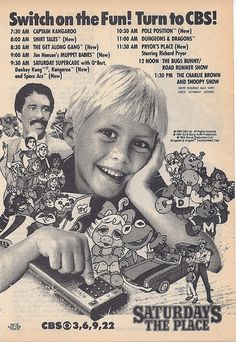 CBS Saturday Morning Cartoons ad with Shirt Tales & Muppet Babies, best line up especially the Get Along Gang and Muppet Babies. AWWW Saturday morning cartoons, with your favorite bowl of cereal. Great way to start the day! Best 90s Cartoons, Classic Cartoons, Gi Joe, Cbs Saturday Morning, Funny Cartoon Pictures, Cartoon Photo, Muppet Babies, My Childhood Memories, 1970s Childhood
