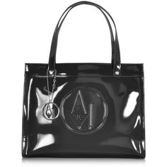 Armani Jeans Designer Handbags Patent Eco Leather Tote (€195) ❤ liked on Polyvore featuring bags, handbags, tote bags, black, shopping bag, hand bags, patent leather handbags, patent leather tote and man bag
