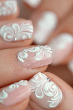 nail art dentelle mariage - Looking for Hair Extensions to refresh your hair look instantly? KINGHAIR® only focus on premium quality remy clip in hair. Visit - - for more details Nail Art Dentelle, Lace Nail Art, White Lace Nails, 3d Nail Art, Wedding Nails Design, Wedding Designs, Lace Nail Design, Bride Nails, Fabulous Nails