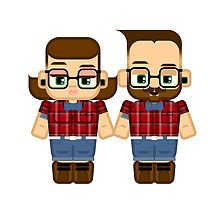 Hipster dude and chick by boxedspaper