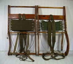 US Canvas & Wood Set of 2 BacKPack Frames - Vintage Hand Made Heavy Duty Hiking Gear - Military Mountaineer RuckSack Supports - Cabin Decor $270.00 by DivineOrders