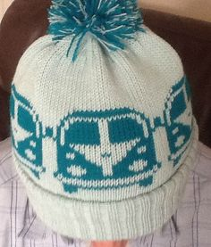 5efddb26c22 Knitted Beanie pompom bobble Hat VW Camper Van style Pale Green and Teal  custom…