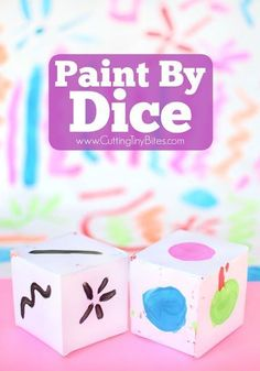 Paint By Dice- process art painting activity for toddlers, preschoolers, kindergarten, or elementary kids! Open-ended art at its finest! Process Art Preschool, Preschool Art Projects, Preschool Art Activities, Preschool Colors, Art Projects For Adults, Art Therapy Activities, Toddler Activities, Kids Painting Activities, Painting For Kids