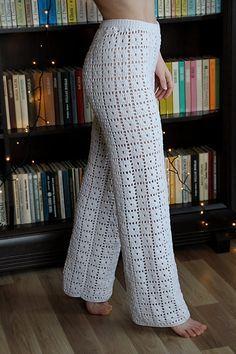 Crochet Shorts, Crochet Clothes, Crochet Pants Pattern, Knit Pants, Trouser Pants, Long Pants, Wide Leg Pants, Cotton Crochet, Knit Crochet