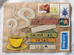 A gallery of mail-art created by me. Mostly snail-mail envelopes on kraft paper, painted in gouache and watercolour. Decorated Envelopes, Handmade Envelopes, Pen Pal Letters, Letter Art, Letter Writing, Mail Art Envelopes, Snail Mail Pen Pals, Art Postal, Diy Envelope