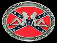 MUDFLAP SEXY GIRLS REBEL DIXIE SOUTHERN CONFEDERATE FLAG BELT BUCKLE BUCKLES