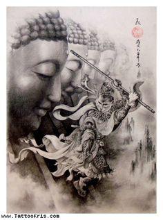 Grey Ink Asian Buddha Tattoo Design
