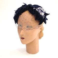 Vintage 1950s NAVY Velvet Leaf Cocktail Party HAT Cap Headpiece with VEIL Netting Church Hat Mad Men